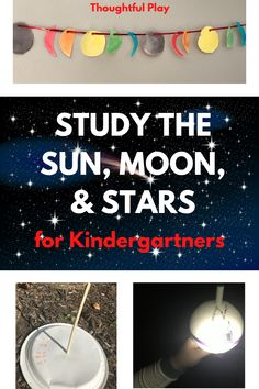 Have you wanted to teach the sun, moon, and stars, but maybe you don't know where to start? Or you don't have the time to search and piece together the plans? We did it for you! A thorough and thoughtful week of lessons that are engaging, fun, hands-on! Guaranteed to be memorable times together! We would LOVE to see pictures or videos of your creations and adventures: sundials, moon phase garland, star constellations, and explorations of day & night! Please share! Kindergarten Science Activities, Space Activities For Kids, Space Crafts For Kids, Stem Projects For Kids, Movement Activities, Play Based Learning, Learning Through Play, Fun Learning, Learning Activities