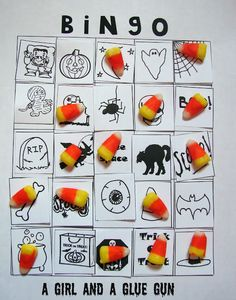 Halloween BINGO printables--the kids cut out the pictures to make their own boards (genius!) then play!