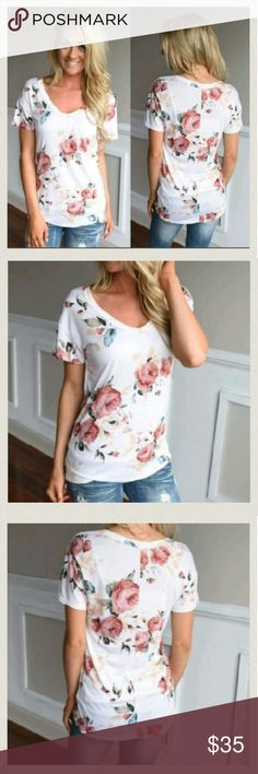"New!! Rose Print V-Neck T-Shirt ONE LEFT ONE LEFT!!! Size Large. Measurements- Bust approximately 19"" Length is 25"" Brand New In packaging. Tops"