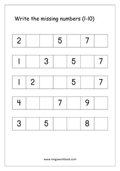 Ordering Numbers Worksheets, Missing Numbers, What comes before and after Number - Free Printables - MegaWorkbook Grade R Worksheets, Number Worksheets Kindergarten, Kindergarten Lessons, Writing Worksheets, Preschool Math, Maths, Math Numbers, Writing Numbers, Free Printable Numbers