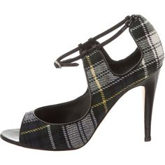 Pre-owned Manolo Blahnik Peep-Toe Plaid Pumps (£96) ❤ liked on Polyvore featuring shoes, pumps, pattern prints, print shoes, print pumps, buckle shoes, plaid pumps and woven shoes