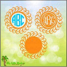 Swirly Frame Monogram Base Designs Digital by MyLittleMonkeysGifts