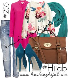 Hashtag Hijab Outfit i love the mix pink beige floral petrol blue and leather bag lovely!