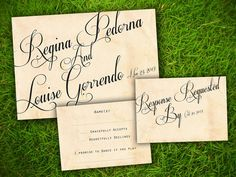 Wedding Invitation and RSVP Card Suite - Vintage Rustic Elegant Calligraphy Customizable Double Sided Print. $1.88, via Etsy.