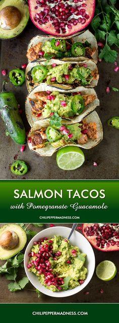 Salmon Tacos with Pomegranate Guacamole #seafoodrecipes