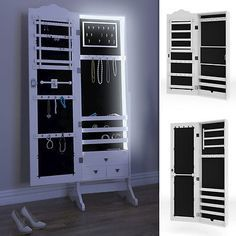 Spiegelschrank Schmuckschrank Standspiegel Weiß Schmuck Wandschrank Spiegel LED in Möbel & Wohnen,Dekoration,Spiegel | eBay