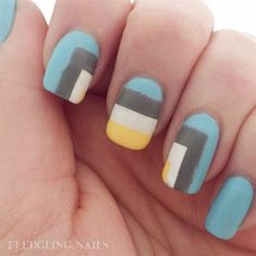 "A fun color blocked abstract design in grey, blue, white and yellow, based on ""Homage to the Square"" http://fledglingnails.blogspot.com/2014/02/notd-fingerfoods-theme-buffet-7-abstract.html"