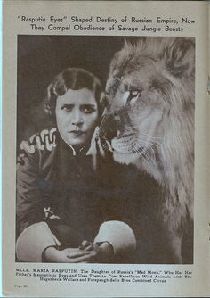 Maria Rasputin worked for the circus. http://www.pinterest.com/ladedi2000/the-romanovs/ . http://www.pinterest.com/pin/562457440934744398/ . http://www.pinterest.com/hansatingsuwan/royals-scandals/