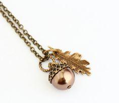 Acorn Pendant - Swarovski Pearl Necklace - Oak Leaf Charm Necklace - Woodland Wedding Bridal jewelry - Bronze Autumn Pendant - Leaf Necklace - Jacaranda