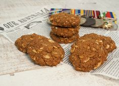 """A crunchy gluten and oat free version of Anzac Biscuits. These biscuits have long been associated with the """"Australian and New Zealand Army Corps"""". Dairy Free Low Carb, Anzac Biscuits, Organic Butter, Blanched Almonds, Golden Syrup, Healthy Desserts, Healthy Food, Almond Recipes, Low Sugar"""
