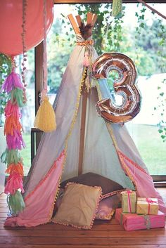 Party Tent! | Gorgeous Boho Chic Birthday Party {Pastels & Feathers}