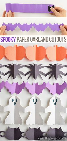 halloween pumpkins hallowee holidays cutouts spiders garland ghosts paper black bats cats and Halloween Paper Garland Cutouts Bats Spiders Pumpkins Ghosts and Black Cats Holidays HYou can find Pumpkins and more on our website Halloween Paper Crafts, Homemade Halloween Decorations, Manualidades Halloween, Paper Crafts For Kids, Halloween Activities, Simple Paper Crafts, Diy Paper, Easy Crafts, Holidays Halloween