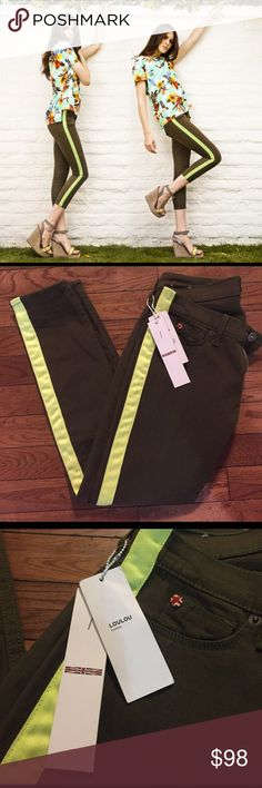 • HUDSON • NWT • tuxedo jeans Hudson NWT tuxedo jeans. Olive green with lime green/yellow stripe down the side. Adorable!!! Size 24. Remember to bundle & save 15%!  Hudson Jeans Jeans Ankle & Cropped