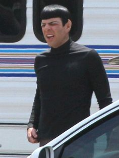 Zachary Quinto's Spock about to Vulcan sneeze on the set of STAR TREK 2.<-- I feel ridiculous repining a picture of a guy about to sneeze but I'm still doing it.