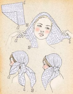 How to scarf tye (for bust magazine) by Samantha Hahn Turbans, Headscarves, Gypsy Style, Hippie Style, Head Scarf Tying, Gypsy Costume, Head Scarf Styles, How To Wear Scarves, Scarf Hairstyles