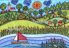 Velencei-tó Karla Gerard, Naive, Folk Art, Whimsical, Collage, Landscape, Hungary, Projects, Diy