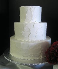 Simple Elegant Textured Buttercream Wedding Cake by Graceful Cake Creations, via Flickr