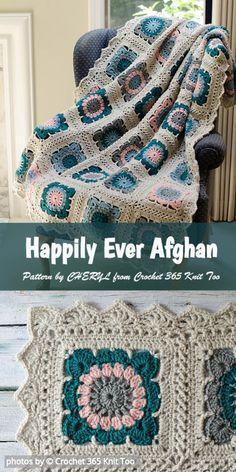 Crochet Patterns Afghans Crochet Happily Ever Afghan Pattern Granny Square Crochet Pattern, Afghan Crochet Patterns, Crochet Squares, Crochet Motif, Knit Crochet, Granny Squares, Crochet Mandala, Crochet Granny, Crochet Afgans