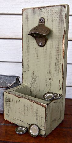 Bottle Cap Opener & Cap Catcher - Beverage Bottle Opener- Beer Bottle Opener - Distressed Wood - Rustic Decor - Cast Iron Opener on Etsy, $28.00