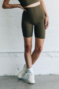 olive FlexRib The Biker Short Short Outfits, Spring Outfits, Cycling Shorts, Athletic Wear, Drop Waist, Thighs, Biker, Sporty, Slim