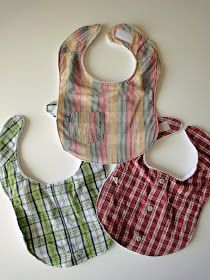 Bibs made out of up-cycled shirts...great idea!            You can make these with either:  adult graphic tees            or toddler button down shirts  {You can use an adult men's shirt, you just won't be able to fit the cute pocket on the bib.}          Here's how:  1. Download the bib pattern here and here.    2. Cut out the pieces.        3. Trace the pieces backwards onto separate sheets of paper.        4. Cut out the second pattern pieces except leave a small tab on the side of the