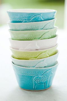 Mia Blanche Ceramics by decor8, via Flickr--Sea colors and Dala Horses....what more could I want?
