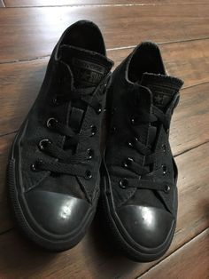 f431cf9a9394d6 All Black Low Top Converse (unisex)  fashion  clothing  shoes  accessories