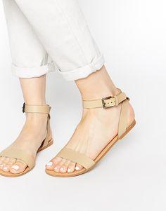 Pieces+Carla+Nude+Leather+Flat+Sandals
