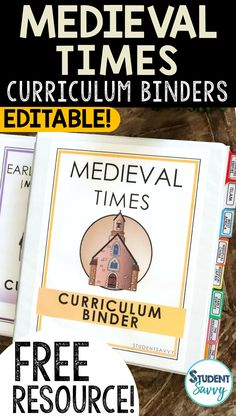 Organize your Medieval Times Curriculum! This download includes binder covers, spines, tabs, section dividers, and a sample pacing guide! Editable Files also included. 6th Grade Social Studies, Social Studies Activities, Teaching Social Studies, Teacher Freebies, Teacher Blogs, Middle School, Middle Ages, School Fun, School Ideas