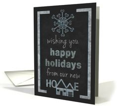 Christmas Happy Holidays New Address Announcement Chalkboard Look card by Penny Cork