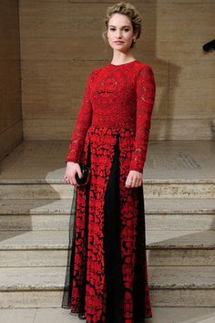 Lily James in dress by Valentino spring/summer 2014