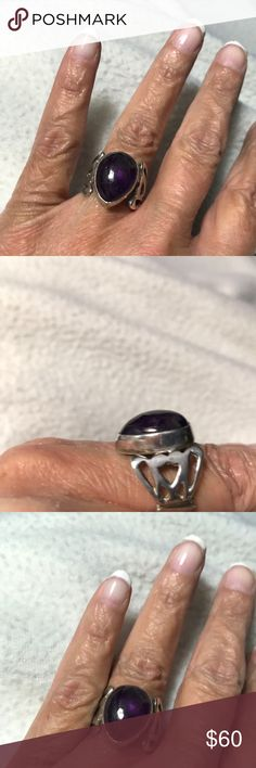 Vintage 80's Amethyst and Sterling Silver Ring Vintage 80's Amethyst and Sterling Silver ring. I can't find any markings on the ring. I bought it from a craftsman at the Market in Charleston. It is Sterling Silver I just cleaned it up. It's very pretty and the stone is a very deep purple and in a tear shape. In excellent condition. Jewelry Rings