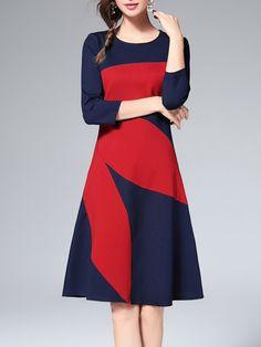 Shop Midi Dresses - Navy Blue 3/4 Sleeve Color-block Midi Dress online. Discover unique designers fashion at StyleWe.com.