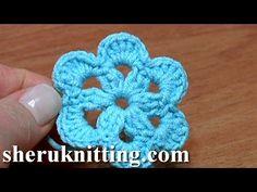 Crochet 6-Petal Flat Flower Tutorial 27 Patterns Crochet Fiore - YouTube