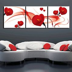 Stretched Canvas Art Floral Romance Red Petal Set of 3 - USD $ 59.99