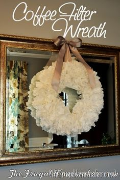 Coffee Filter Wreath. will make this with brown coffee filters too!!perfect for any holiday or saeson Coffee Filter Crafts, Coffee Filter Wreath, Coffee Filters, Holiday Crafts, Christmas Crafts, Christmas Decorations, Christmas Wreaths, Christmas Ideas, Christmas Things