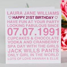 personalised birthday card for her by megan claire | notonthehighstreet.com