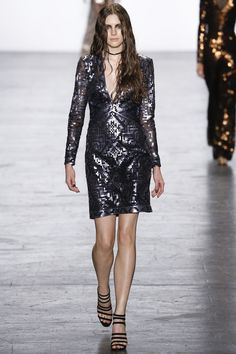 I love this pixely, tribal sequined number. Tadashi Shoji Fall 2016 Ready-to-Wear #nyfw #fall2016