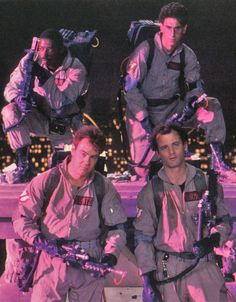 Bill Murray as Peter, Dan Aykroyd as Raymond, Harold Ramis as Egon, and Ernie Hudson as Winston in Ghostbusters (1984)