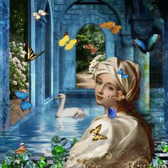 Digital art - Journey of Butterflies. Used pieces from various kits: DW kit Butterfly Journey (thank you so very much); from Deviant Scrap, Itkupilli Spring Flowers, January Butterfly Journals, Pink Lotty Once Upon a Time, and Holliewood Once Upon a Time.