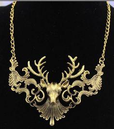 Bronze or Silver Faux Deer Antler Bridal Necklace