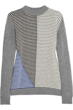 Marni|Contrast-striped wool and cashmere-blend sweater|NET-A-PORTER.COM