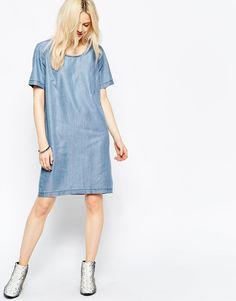 Young Denim Midi Shift Dress