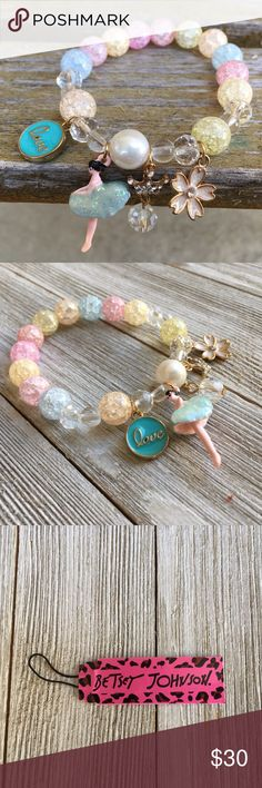 Betsey Johnson Stretch Bracelet NWT - Sweet, pastel colored Betsey Johnson stretch bracelet. The bracelet has the following charms: a Ballerina, love medallion, flower, crystal and rhinestone crown. Betsey Johnson Jewelry Bracelets