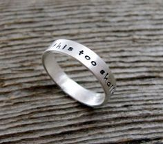 This Too Shall Pass Tiny Text Ring in Sterling by deliasthompson, $29.00
