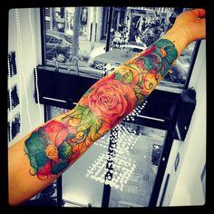 Flowers watercolor Tattoo  SantTattoo ®️