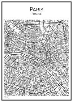 Paris. France. Frankrike. Karta. City print. Print. Affisch. Tavla. Tryck.
