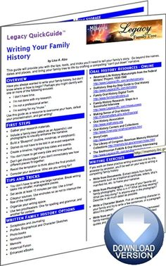 Legacy QuickGuide™: Writing Your Family History - PDF Edition