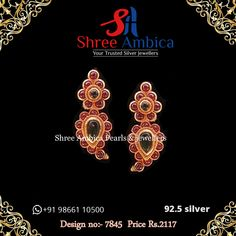 Discover this truly ornate ear ornament fashioned out of 92.5 silver and encrusted with real stones here from Shree Ambica - Your Trusted Silver Jewellers. Pick this for the upcoming festive/wedding season. Readily available in stock For Price and Details Message on - +919866110500 #ShreeAmbica #tustedJewellers #SilverJewellery #indianbride #indianwedding South Indian Jewellery, Indian Jewellery Design, Indian Jewelry, Silver Jewelry, Jewelry Design, Indian Earrings, Wedding Season, Jewels, Jewerly