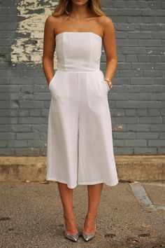 White Culotte Jumpsuit